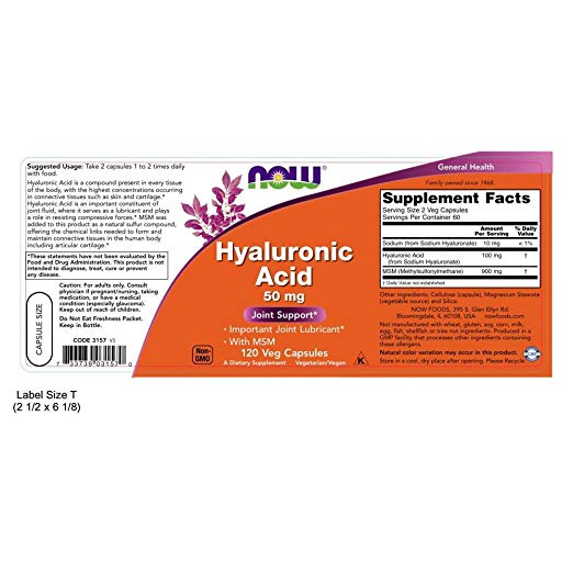 Now Foods Hyaluronic Acid With MSM 120 Veg Capsules