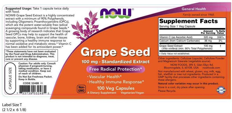 Now Foods Grape Seed 100 mg 100 Veg Capsules