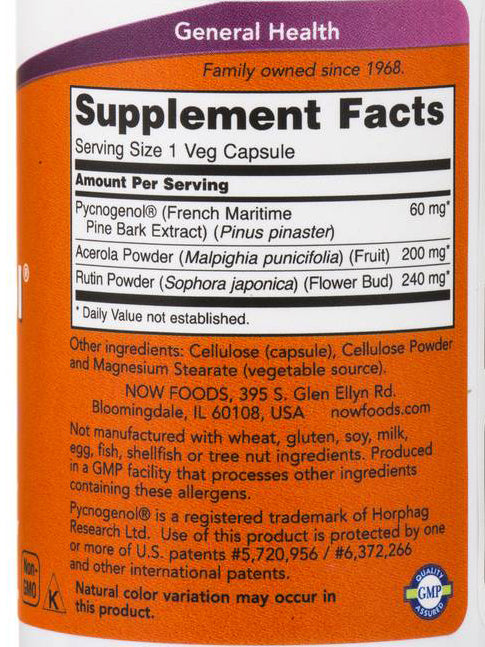 Now Foods Pycnogenol 60 mg 50 Veg Capsules