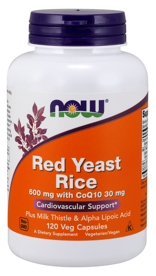 Now Foods Red Yeast Rice 600 mg with CoQ10 30 mg 120 Veg Capsules