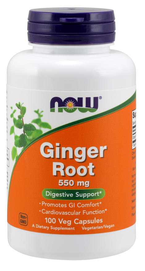 Now Foods Ginger Root 550 mg 100 Veg Capsules