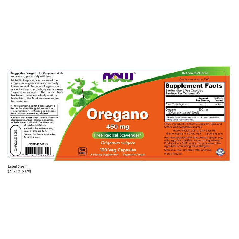 Now Foods Oregano 450 mg 100 Capsules