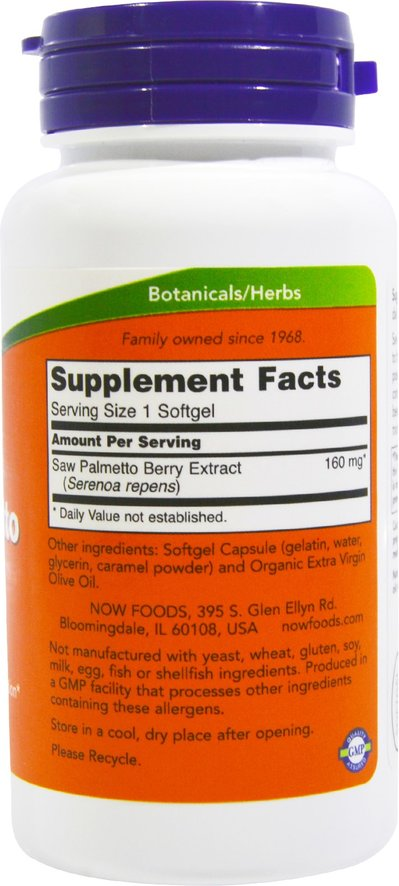 Now Foods Saw Palmetto Extract 160 mg 120 Softgels