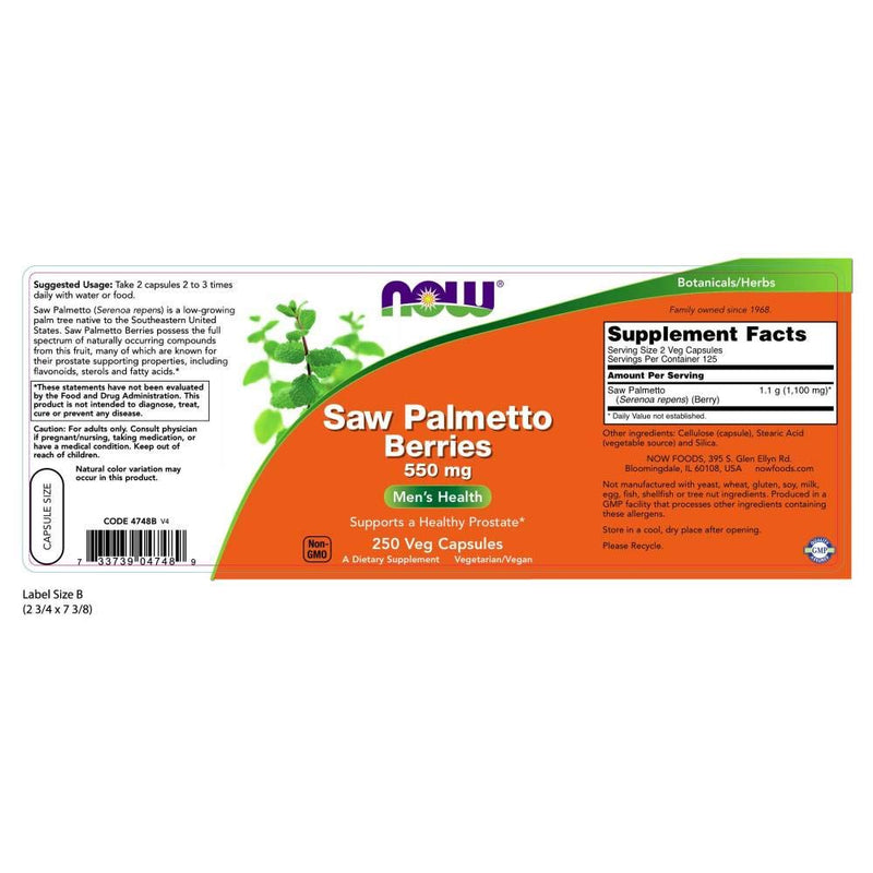 Now Foods Saw Palmetto Berries 550 mg 250 Veg Capsules