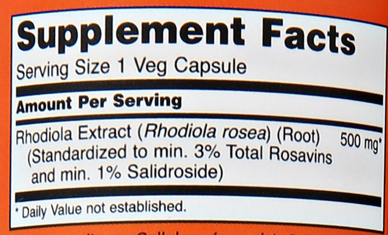 Now Foods Rhodiola 500 mg 60 Veg Capsules
