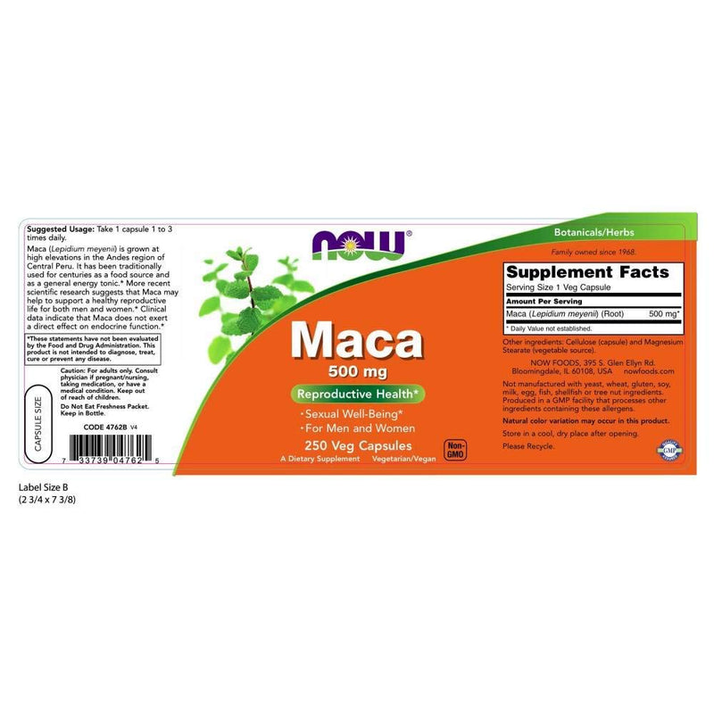 Now Foods Maca 500 mg 250 Veg Capsules