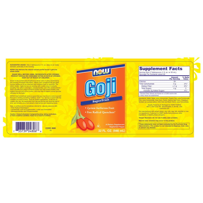 Now Foods Goji SuperFruit Juice 32 fl oz