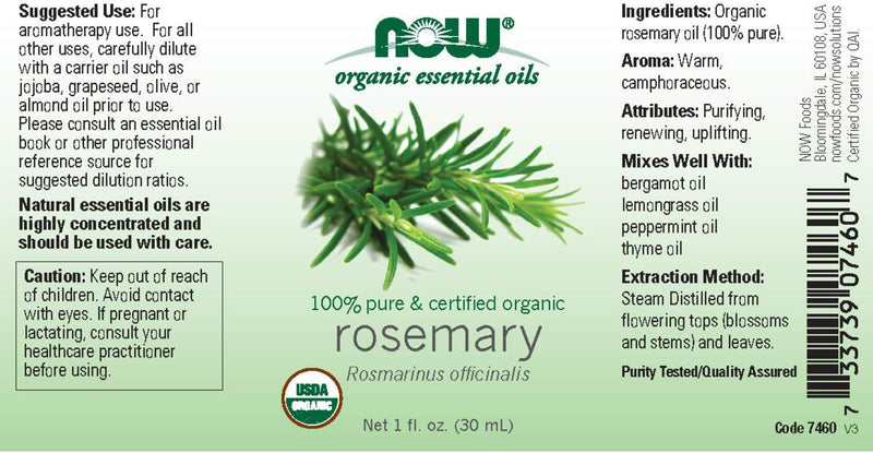 Now Foods Essential Oils Rosemary 1 fl oz Pure & Certified Organic