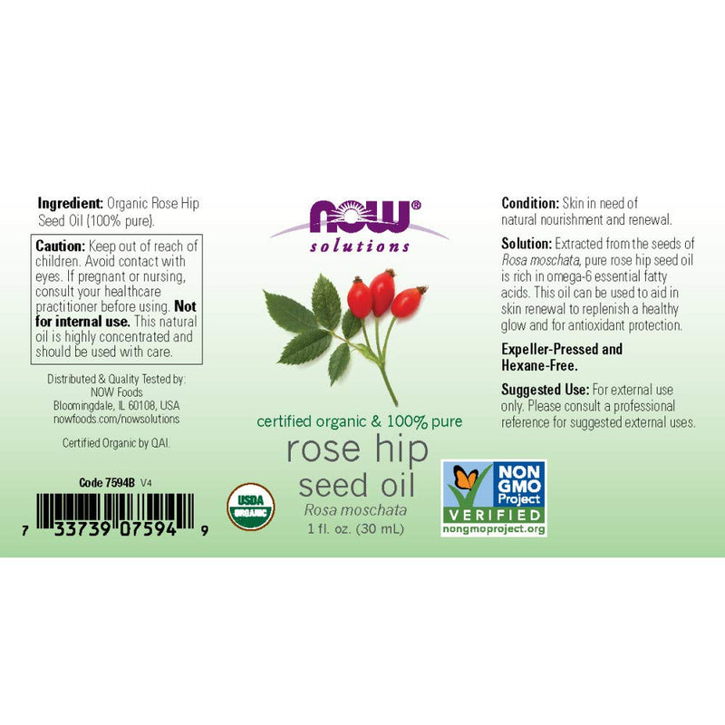 Now Foods Organic Rose Hip Seed Oil 1 fl oz
