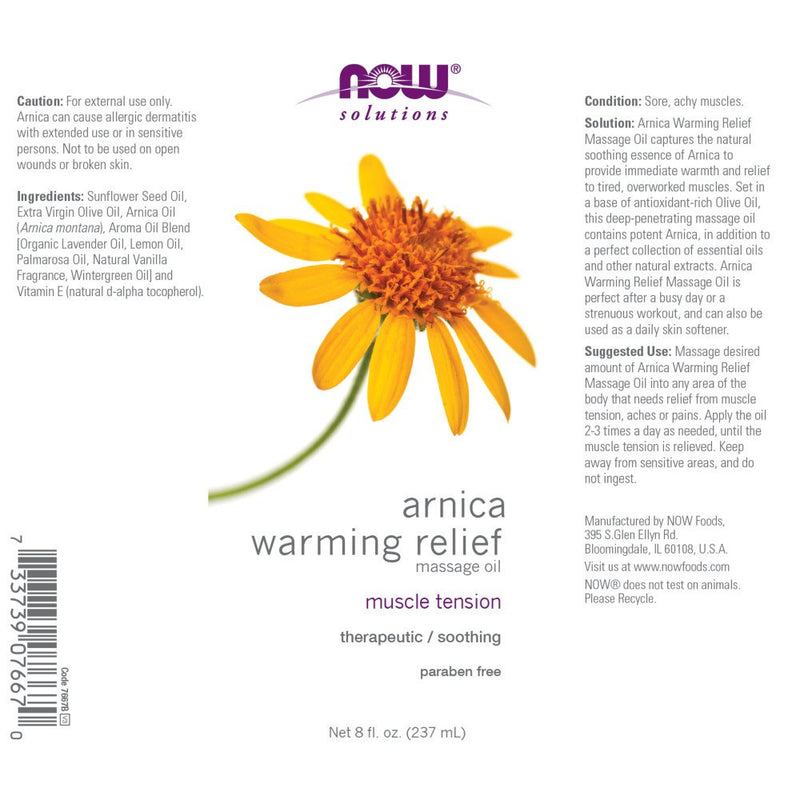 Now Foods Arnica Warming Relief Massage Oil 8 fl oz