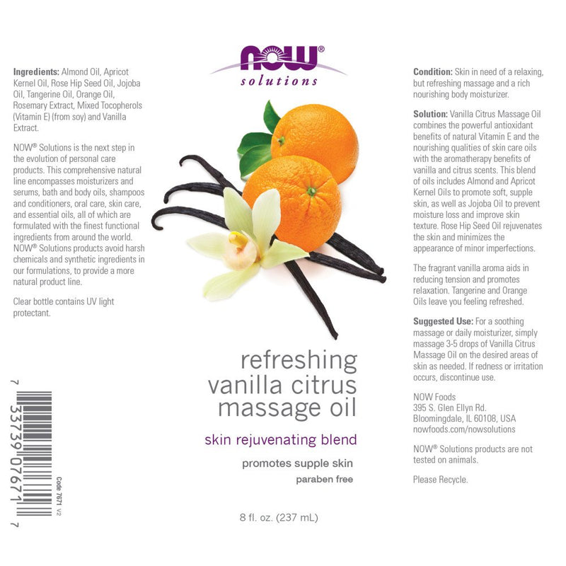Now Foods Refreshing Vanilla Citrus Massage Oil 8 fl oz