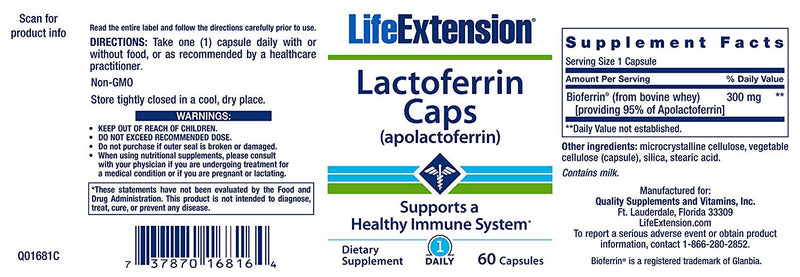 Life Extension Lactoferrin Caps 60 Capsules