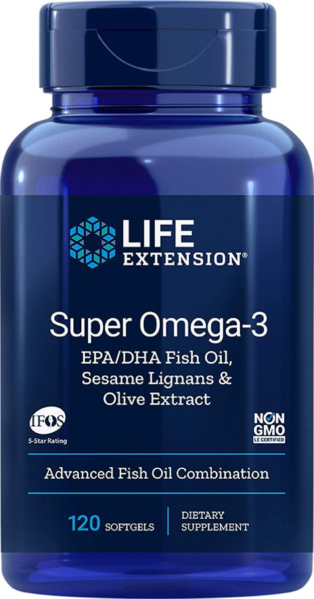 Life Extension Super Omega-3 EPA & DHA with Sesame Lignans & Olive Extract 120 Softgels