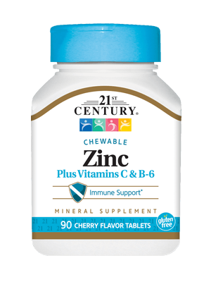 21st Century Zinc Plus Vitamins C & B-6 Chewable 90 Tablets