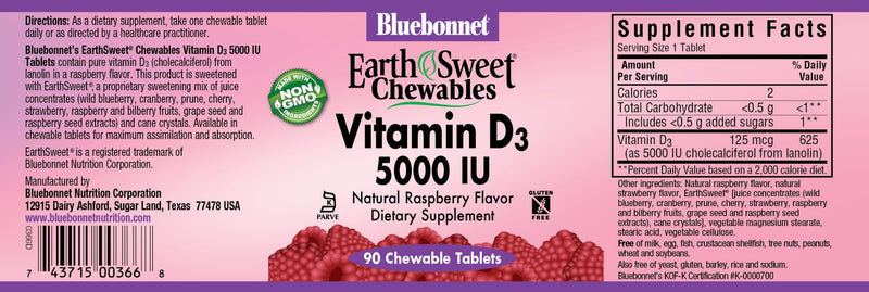 Bluebonnet Nutrition Earth Sweet Chewables Vitamin D3 5,000 IU 90 Chewable Tablets