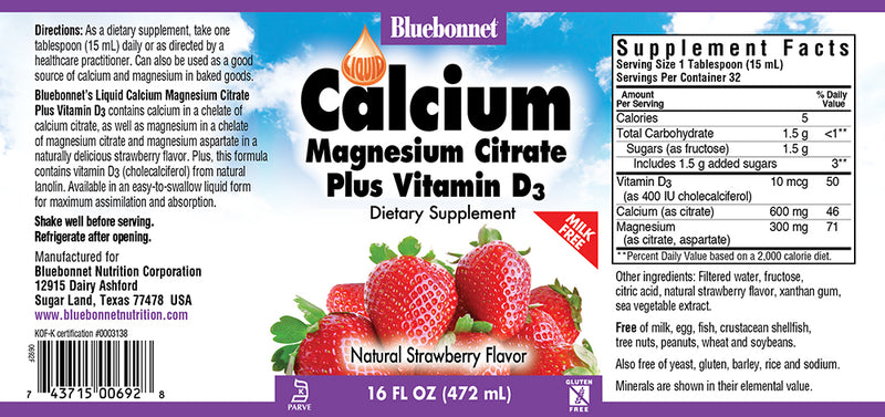Bluebonnet Nutrition Liquid Calcium Magnesium Citrate Plus Vitamin D3 Strawberry 16 fl oz