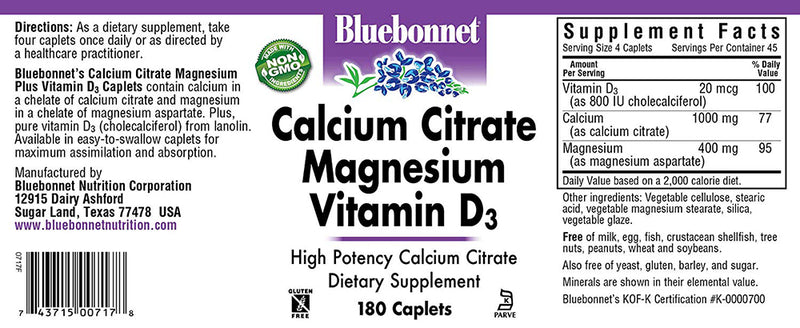 Bluebonnet Nutrition Calcium Citrate Magnesium Plus Vitamin D3 180 Caplets