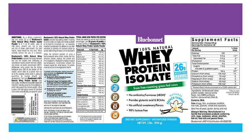 Bluebonnet Nutrition Whey Protein Isolate Powder Vanilla 2 lb