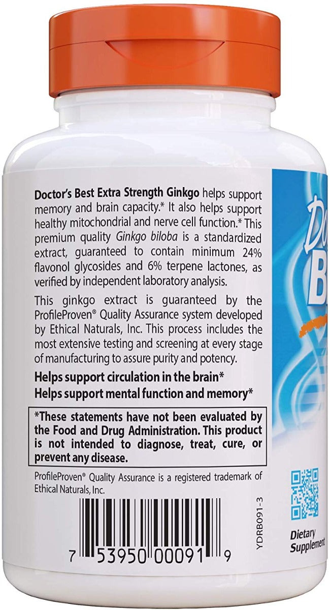 Doctor's BEST Extra Strength Ginkgo 120 mg 120 Veg Capsules