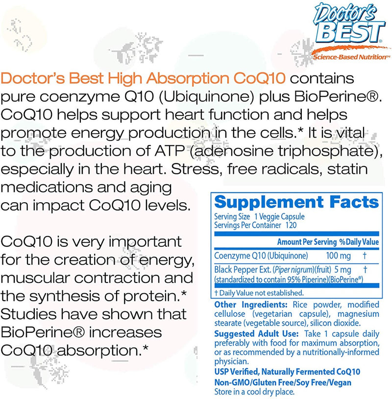 Doctor's BEST High Absorption CoQ10 with Bio Perine 100 mg 120 Veg Capsules