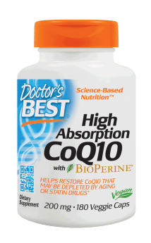 Doctor's Best High Absorption CoQ10 with BioPerine 200 mg 180 Veg Capsules