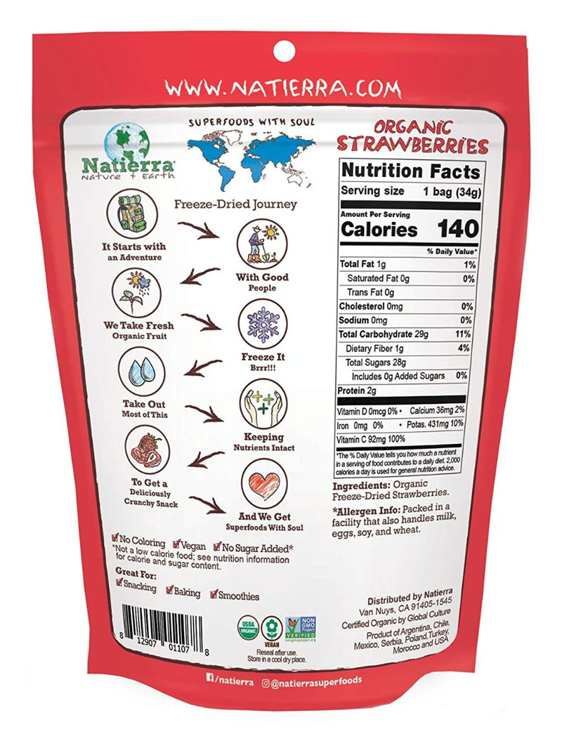 Nature's All Foods Organic Freeze-Dried Strawberry 1.2 oz
