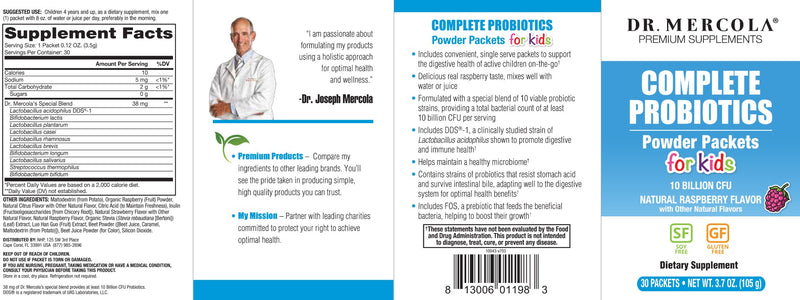 Dr. Mercola Complete Probiotics Powder Packets for Kids Natural Raspberry Flavor 30 Packets