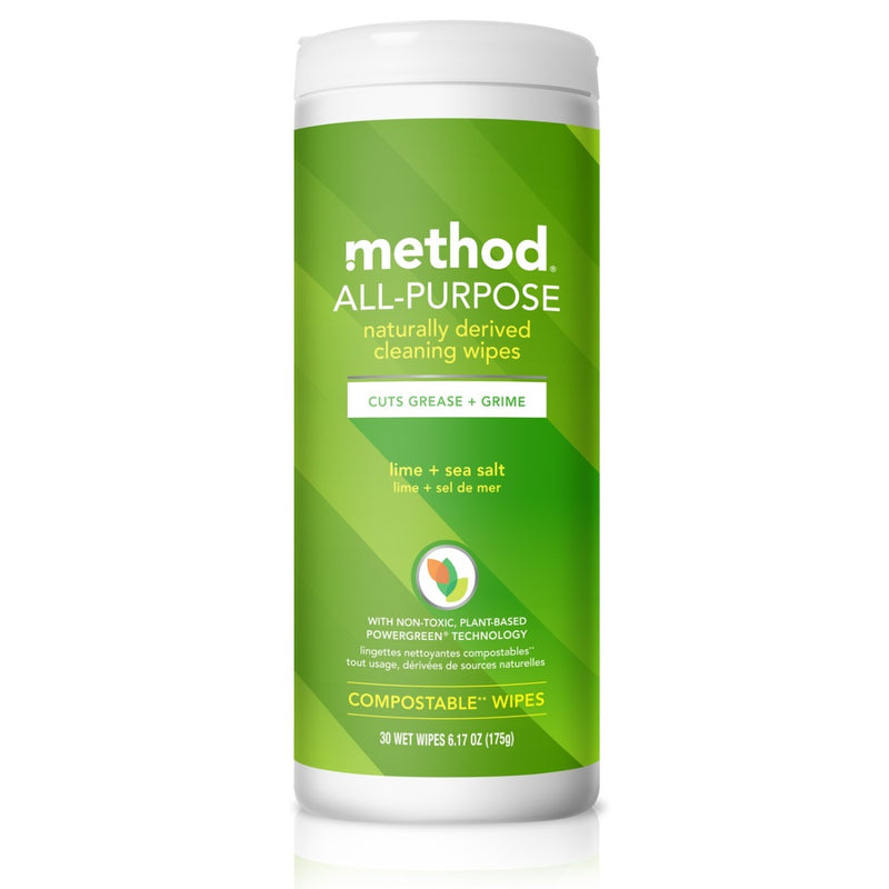Method All-Purpose Cleaning Wipes Lime + Sea Salt 30 Wipes
