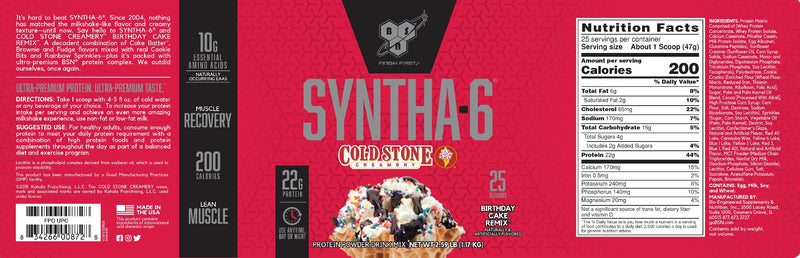 BSN Syntha-6 Cold Stone Creamery Birthday Cake Remix 2.59 lb