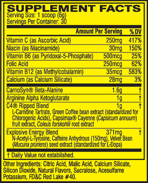Cellucor C4 Ripped Explosive Pre-Workout Cherry Limeade 30 Servings 6.3 oz