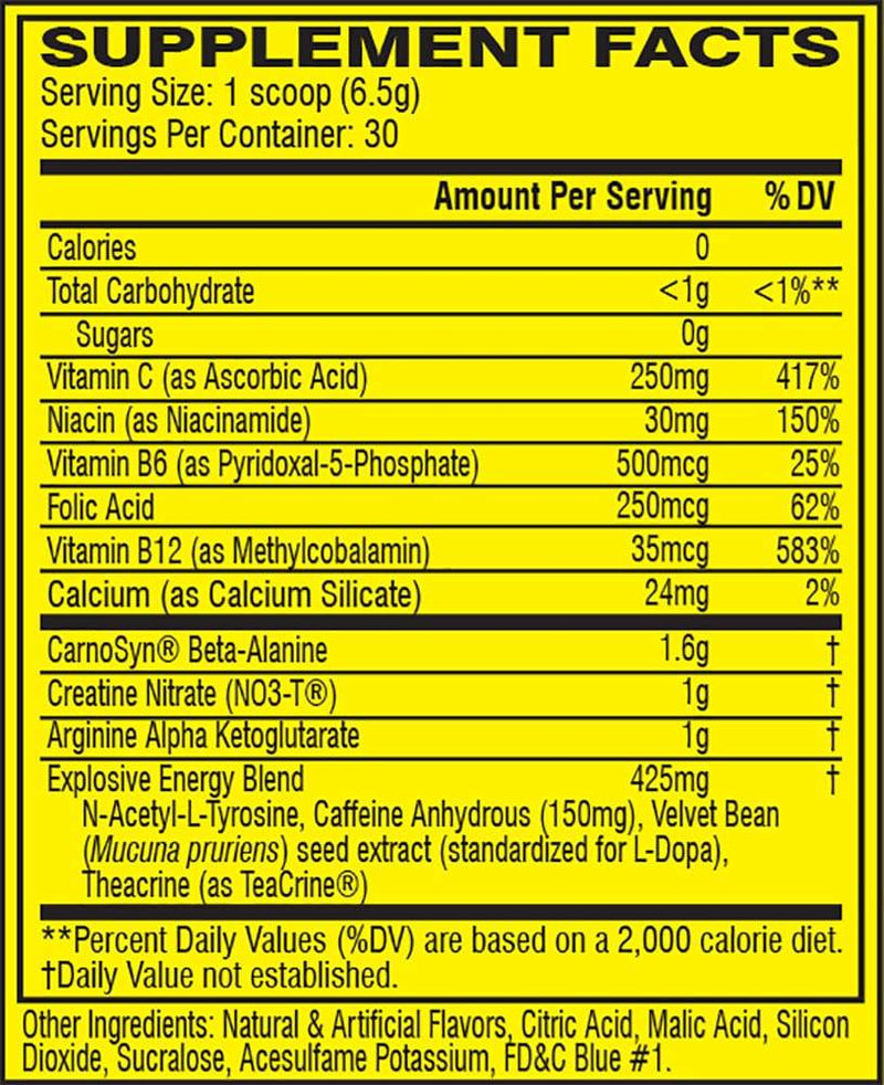 Cellucor C4 Original Explosive Pre-Workout Icy Blue Razz 30 Servings 6.9 oz