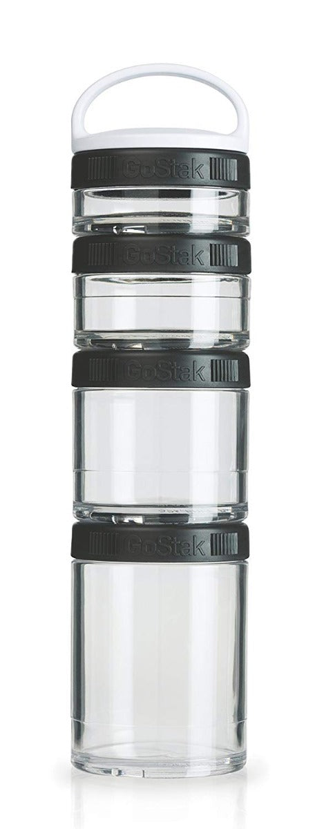 Blender Bottle GoStak Portable Stackable Containers Black 4 Pack