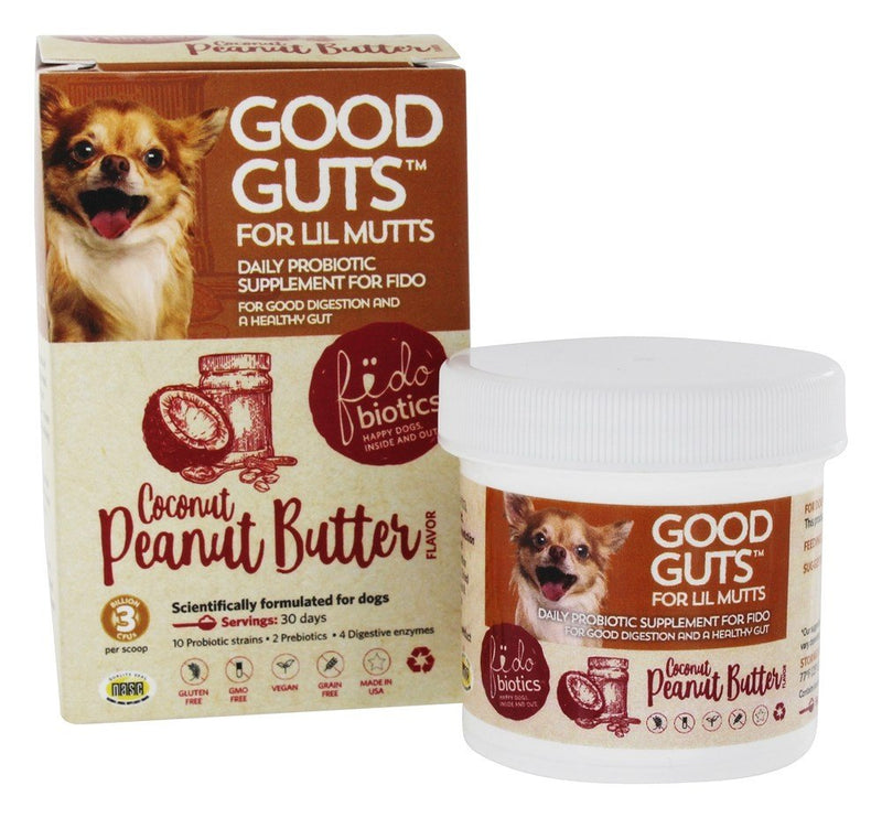Fidobiotics Good Guts For Lil Mutts Coconut Peanut Butter Flavor 30 days 0.6 oz