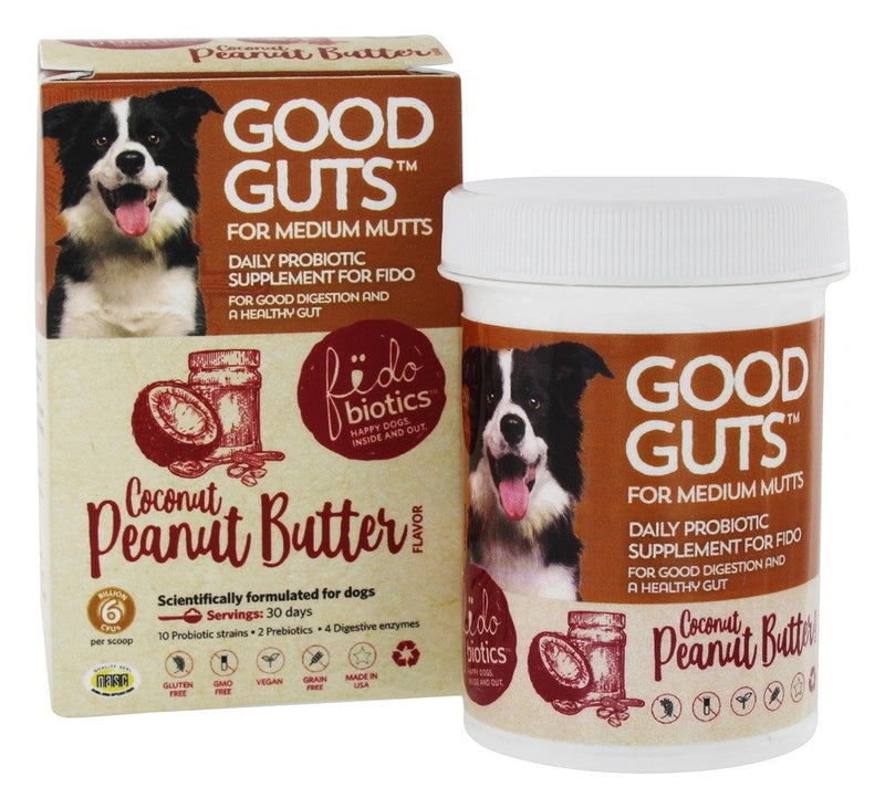 Fidobiotics Good Guts For Medium Mutts Coconut Peanut Butter Flavor 30 days 1 oz