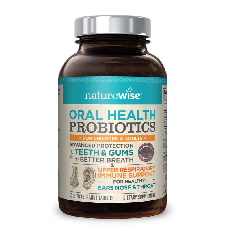 Naturewise Oral Health Probiotics Time-Release Probiotics 3 Billion CFU 50 Chewable Tablets