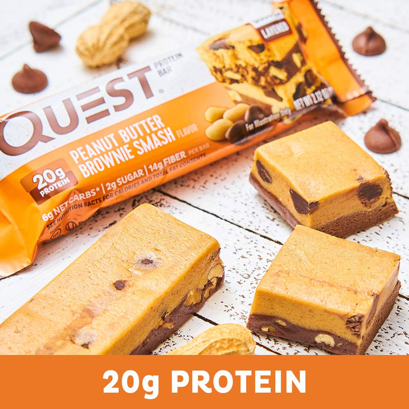 Quest Nutrition QuestBar Protein Bar Peanut Butter Brownie Smash 12 Bars