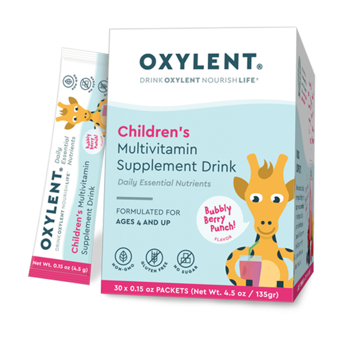 Oxylent Childrens Multivitamin Drink Bubbly-Berry Punch 30 Packets 4.5 oz