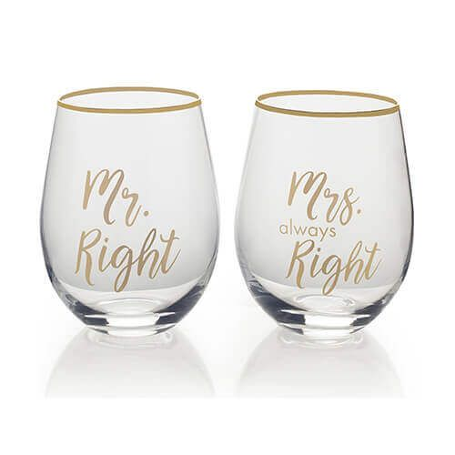 MR right & MRS always right wijn glas set van 2