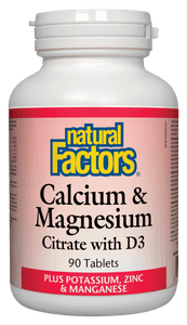 Natural Factors Cal Mag Citrate w/ Vit D 90 Tablets