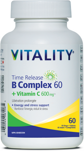 Vitality Vitamin B60 + C 600mg Time Release 60 Tablets