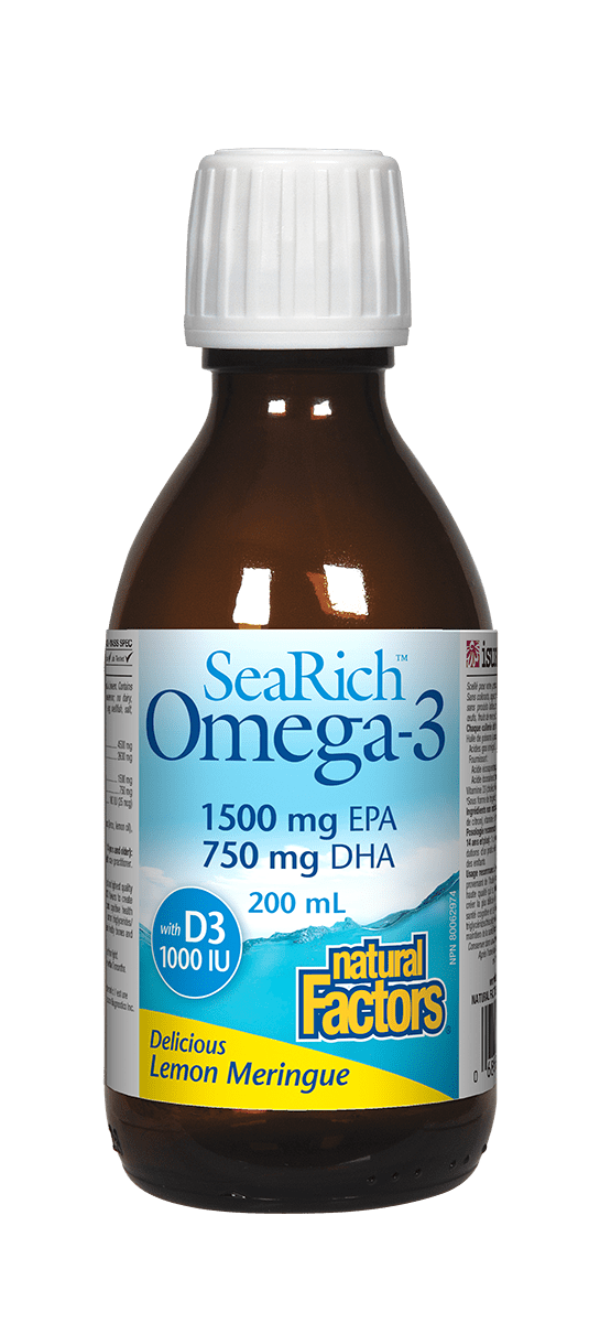 Natural Factors Omega 3+VitD Lemon 200ml Searich
