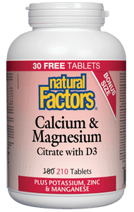 Natural Factors Cal Mag Citrate w/ Vit D 210 Tablets