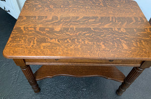 Oak Library Table with Single Drawer