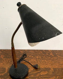 Desk Lamp with Metal Shade and Wood