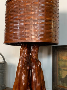 Cypress knee lamp with woven wooden oval shade
