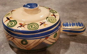 Mexican lidded pot with handle