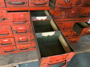 File cabinet. 18 drawers each. 2 orange cabinets available.