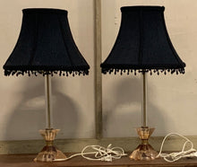 Load image into Gallery viewer, Pair of Glass Candlestick Lamps with Fabric Shades