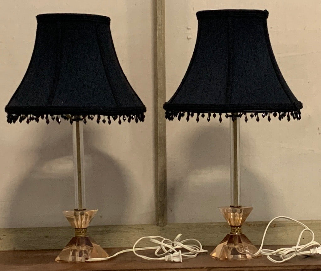 Pair of Glass Candlestick Lamps with Fabric Shades