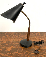 Load image into Gallery viewer, Desk Lamp with Metal Shade and Wood